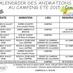 Calendrier animation sur le camping