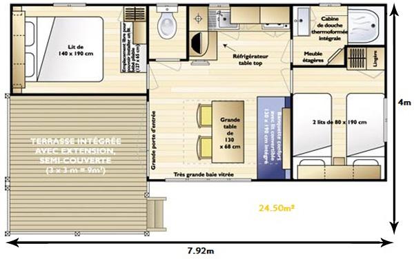 plan mobil home Loggia