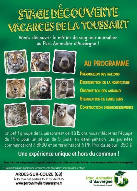 stage Parc animalier d'Auvergne