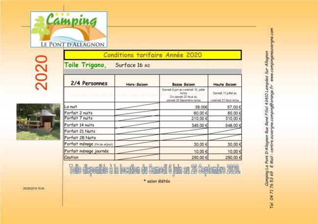 tarifs toile trigano auvergne location camping