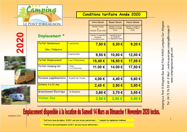 tarifs emplacement camping auvergne