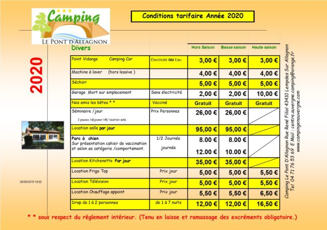 tarifs camping en auvergne